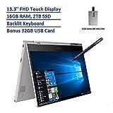 2020 Samsung Notebook 9 Pro 2-in-1 13.3' FHD Touchscreen Laptop Computer, Intel Core i7-8565U Processor, 16GB RAM, 2TB SSD, Backlit Keyboard, Windows 10, Platinum, 32GB Snow Bell USB Card