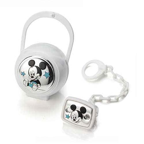 Valenti & Co–Disney Mickey–Clip chupete, cadena portachupete con Caja de Plata Bianco