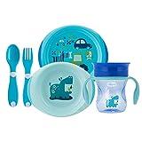 Perfect cup:per bere come da un vero bicchiere Prime posatine:per agevolare il tuo bambino nel mangiare da solo, divertendosi Set piatti 12 m+: comodi per mangiare come i grandi