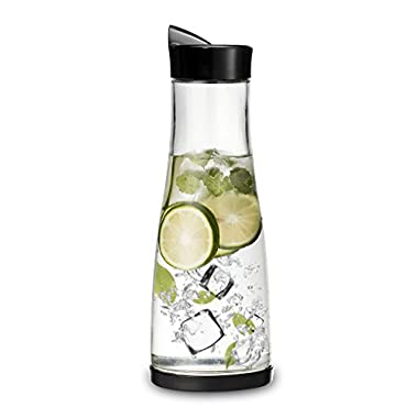 Chefoh Glass Water Carafe With Lid And Protective Base, EZ Pour Drip Spout 1 Liter/33.8 Oz, Fridge Water Pitcher Bottle Dispenser, Great For Juice, Lemonade, Iced Tea, Milk, Wine