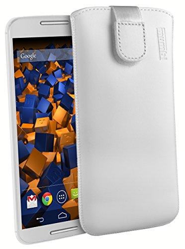 mumbi Echt Ledertasche kompatibel mit Motorola Moto X 2. Generation Hülle Leder Tasche Hülle Wallet, Weiß
