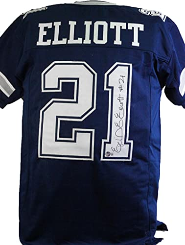 Ezekiel Elliott Autographed Blue Pro Style Jersey - Beckett W Black 1