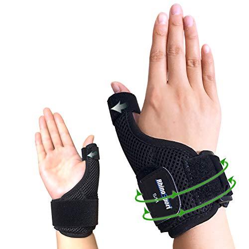 RHINOSPORT Daumenbandage Daumenschiene Schützt Sattelgelenk & Daumengrundgelenk Daumenorthese für Entlastung des Handgelenks bei Verletzungen und Sehnenscheidenentzündung - Rechts (L/XL)