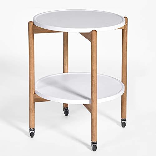 Tables basses Simple Petite en Bois Massif Salon Petite familiale Table d'appoint Amovible avec Rouleau, Double Rangement