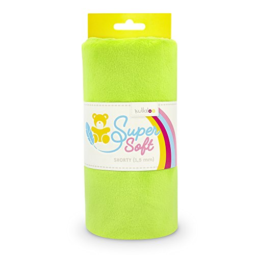 kullaloo Supersoft Plüsch Stoff Shorty in vielen Farben - 1,5mm Florlänge, EN 71-3 & EN 71-9 Zertifiziert (hellgrün), Stoffeinheit 100 x 75 cm (L x B)