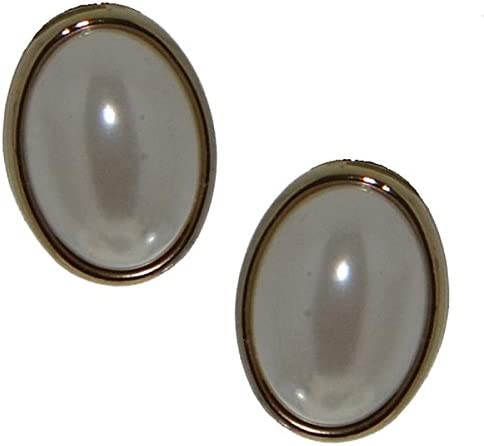 DARCEY Gold tone white faux pearl clip on earrings