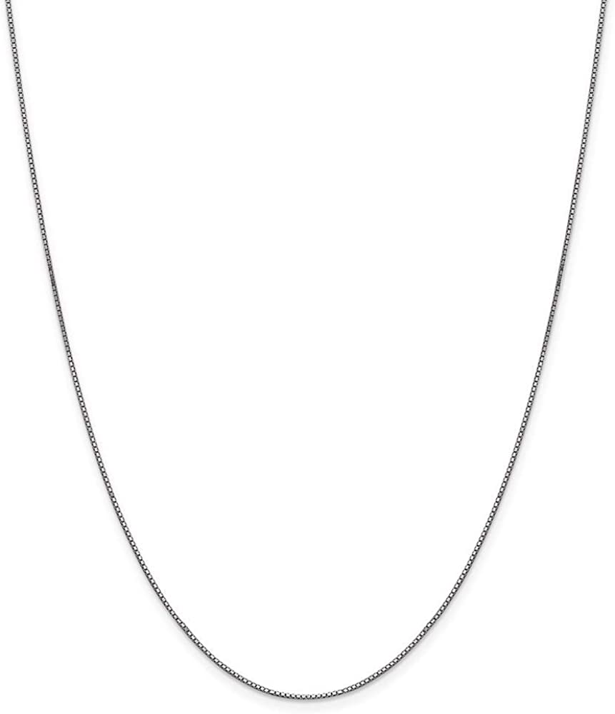 10k White Gold .90mm Box Chain Necklace
