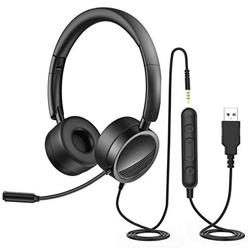 Cuffie con Microfono Riduzione del Rumore Controllo Volume per PC Computer/Cellulare/Laptop, Cuffie Pieghevole da Ufficio con USB/3,5mm per Call Center Skype Chat Conference Call, Leggero 125g