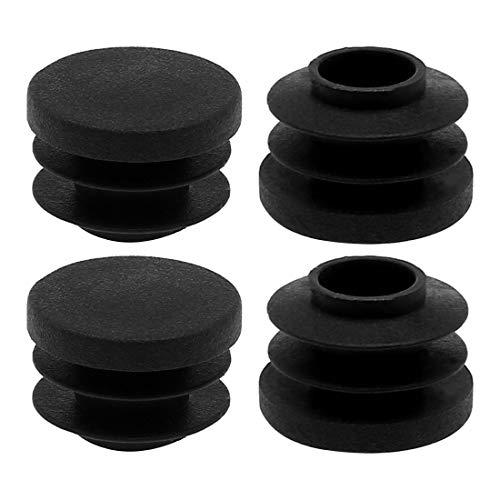 DealMux 3/4'20mm OD tubo redondo de plástico acanalado insertos tapas de cubierta de extremo 4 piezas, 0,67' -0,75'de diámetro interior, protector de gabinete de silla de muebles de piso