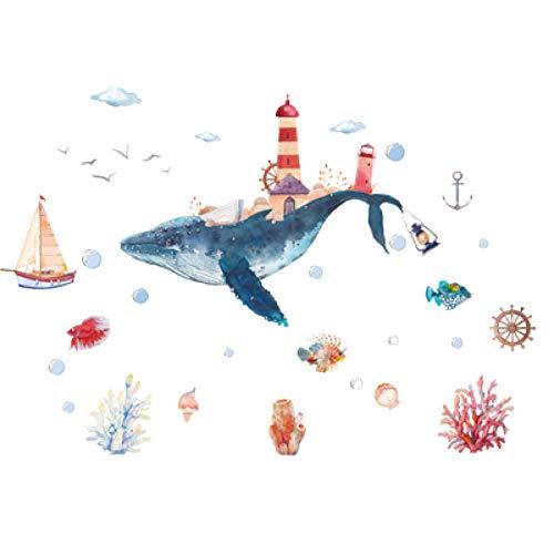 Adesivi murali Cartone Animato Mondo Subacqueo Balena Poster Adesivo Da Parete Impermeabile Vetro Wndow Adesivi Per Piastrelle Da Bagno Camere Per Bambini Decorazioni Per La Casa Murale