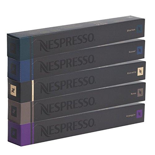 NESPRESSO Capsule Originali Caffe Assortimento, 50 Capsule - 10x Roma 10x Ristretto 10x Kazaar 10x Arpeggio 10x Dharkan - compatibili originali