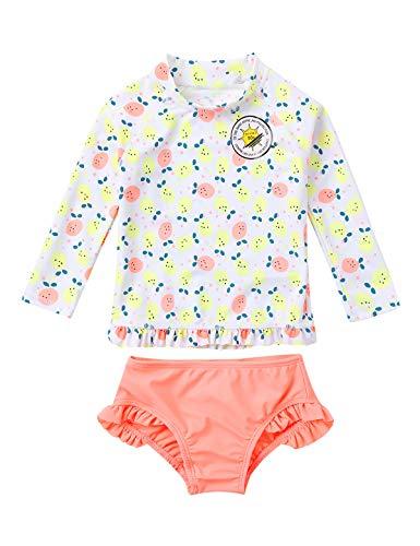 inlzdz Baby Mädchen Badeanzug UV-Schutz Badeset Langarm UPF 50+ Badeshirt mit Badeslip Kinder Schwimmanzug Sommer Strand Beachwear Orange Rosa 62-68