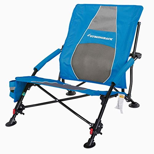 STRONGBACK Low G Recliner Beach Chair Heavy Duty Portable Camping and Lounge Travel Outdoor Seat with Built-in Lumbar Support, Blue/Grey