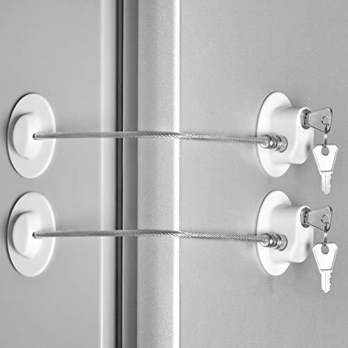 2 Pcs Fridge Lock, Refrigerator Lock for Children, Mini Fridge Locks for Kids, Freezer Lock, Used in Refrigerator Door, Cabinets, Drawers, Toilet Seat(Strong Adhesive, White) CICICO