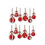 VOSAREA - 2 Pegatinas de Pared extraíbles, Ventanas Rojas, para decoración de Navidad de Cristal, para decoración de Navidad