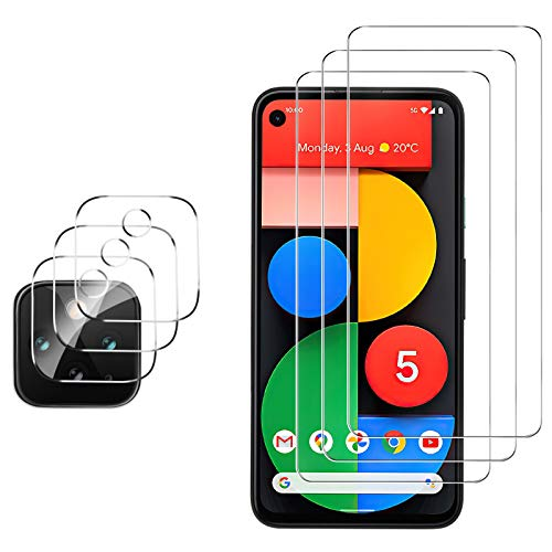 GESMA for Google Pixel 5 Screen Protector and Camera Protector, [3 Screen Protectors+3 Camera Protectors][Touch Sensitive] Tempered Glass Screen Protector for Google Pixel 5(Clear)