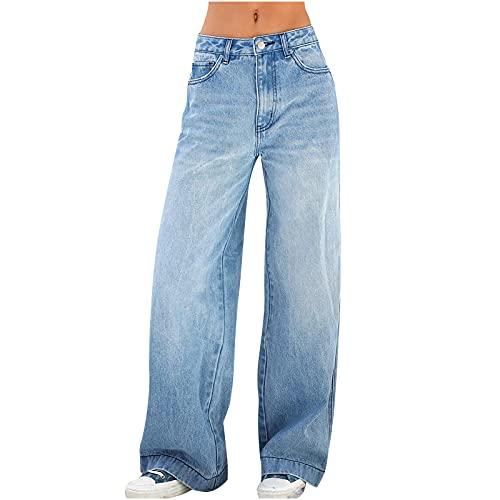 Oxodoi Women's Casual Denim Pants High Waisted Wide Leg Boyfriend Jeans Bootcut Jeans with Pocket Plus Size Jeans for Women Dark Blue