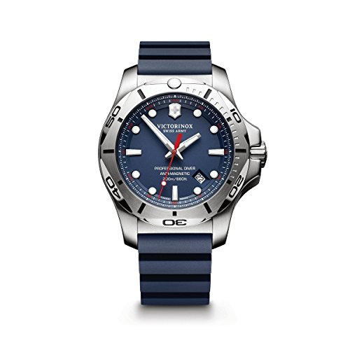 Victorinox Swiss Army Men's I.N.O.X. Stainless Steel Swiss-Quartz Diving Watch with Rubber Strap, Blue, 22 (Model: 241734.1)