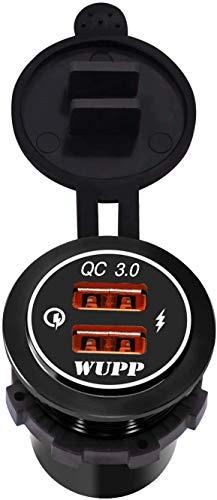 Kriogor - Toma USB de Aluminio para Coche, Impermeable, 2,4 A, Cargador rápido y 3.0, con Cable de extensión de 1,2 m, para Moto o Barco de 12 V-24 V