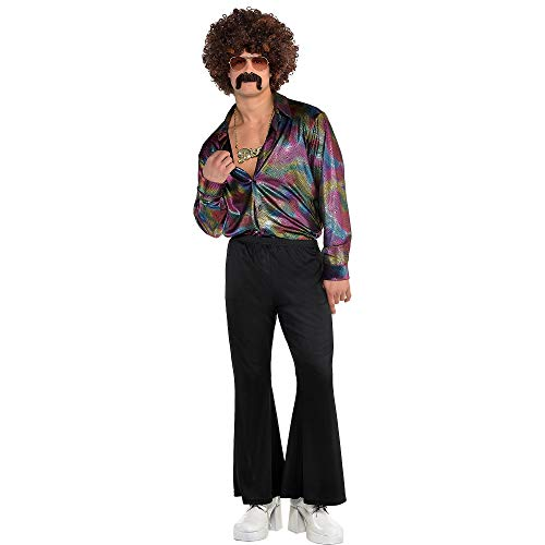 amscan 843054-55 Adult Men's Disco Shirt-1 Pc, Black, Herren: 50/52