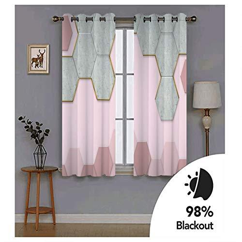 Knbob Polyester Vorhänge Rosa Grau 3D Sechseck-Muster Vorhang für Küche Größe 214x115CM