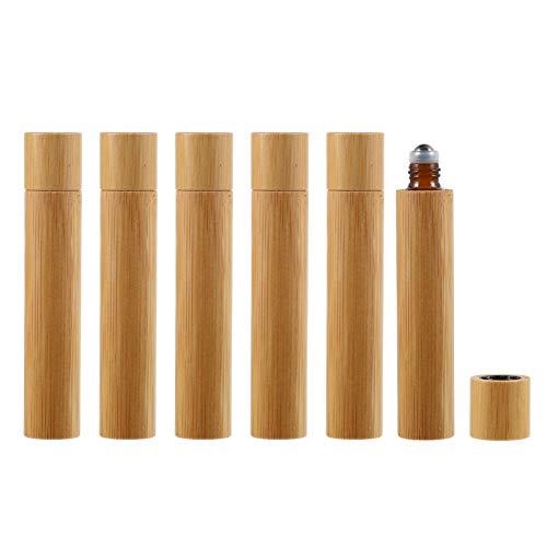 PIXNOR Botellas de Rodillos para Aceites Esenciales 6 Envases de Botellas Enrollables de Bambú Botellas de Bolas de Viaje para Perfume Lotion Eye Cream 10Ml