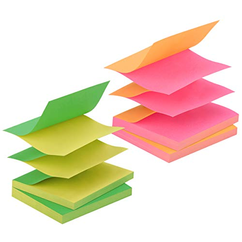 ZCZN Pop-up Sticky Notes 3 x 3 Inches, 4 Pads Bright Color Self-Stick Notes, 80 Sheets/Pad, Rose Red, Orange, Green, Yellow