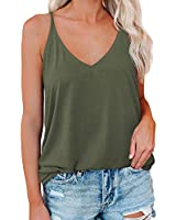 LOLONG Womens Causal Summer V Neck Spaghetti Strap Shirts Solid Tank Tops Olive Green