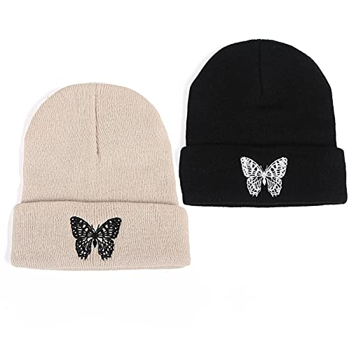 Beanie for Women Men,Butterfly Embroidered Winter Warm Acrylic Knit Hat for Jogging Hiking Running-Black & Khaki (2 Pack)
