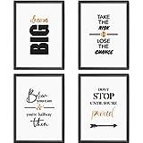 Mia Félice Poster-Set Collage DIN A4 Life Goals - schwarz-weiß Rose-Gold - Dekoration Wohnung modern - Wand-Deko Wohnzimmer - Tumblr Zimmer Wand-Bild - Wand-Bilder Schlafzimmer - ohne...
