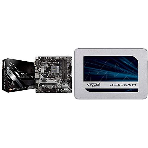 MB ASRock AM4 m-ATX D-Sub/HDMI/DVI DDR4 Retail - AMD Sockel AM4 (Ryzen) - Micro/Mini/Flex-ATX, B450M PRO4 & Crucial MX500 CT500MX500SSD1Z 500 GB Internes SSD (3D NAND, SATA, 2,5 Zoll)