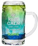 Minimaß Schnapskrug mit individueller Gravur [Name] und [Motiv - Keep Calm and Love Schnaps] -...
