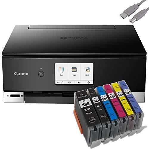 Bundle Canon PIXMA TS8350 Tintenstrahldrucker Multifunktionsgerät (Drucker, Scanner, Kopierer) mit 6 komp. Youprint® Tintenpatronen für PGI-580/CLI-581 XXL