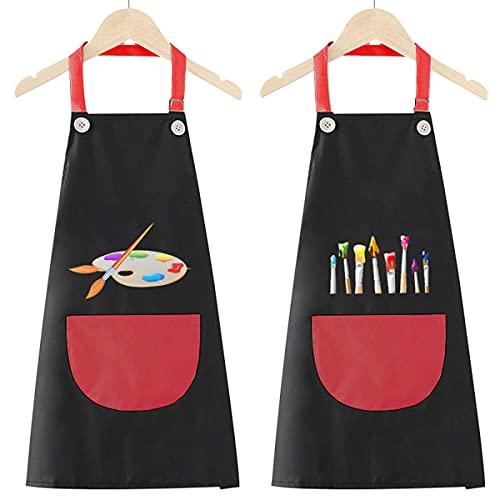 2 Stück verstellbar das Muster des Karikatur Kinder-Malschürze mit Taschen Wasserdichte Küchenschürzen Mädchen Jungen Schürze zum Basteln, Malen, Backen, Kochen, geeignet 5-12 Jahre (Black&red)