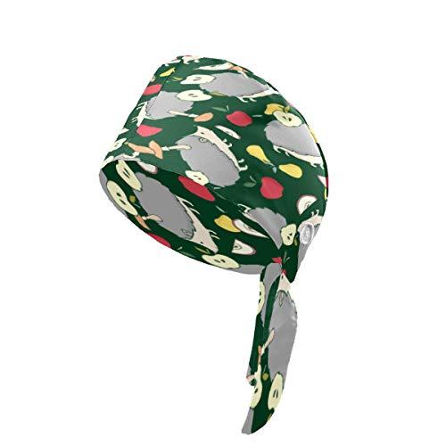 LIUBT - Gorro de trabajo con botón y banda para el sudor, ajustable, para mujer, hombre, talla única, diseño de manzana