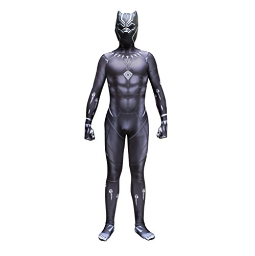 Black Panther Zentai Deluxe Polyester Jumpsuit Halloween Cosplay Costume+Mask Kids M