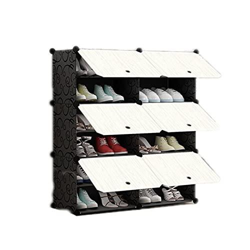 OMKMNOE Estantería modular de múltiples capas para zapatos, estantes multiusos, color negro, para montaje en el hogar, zapatero, fácil combinación, caja de almacenamiento, color negro, 6 etc
