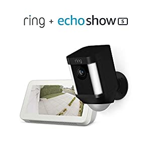 Ring Spotlight Cam Battery HD Security Camera (Black) bundle with Echo Show 5