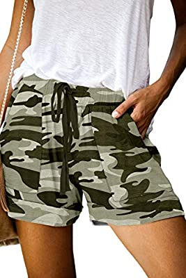 QUEEN PLUS Women's Casual Hiking Shorts Drawstring Solid Athletic Lounge Shorts with Pockets L Olive Camo