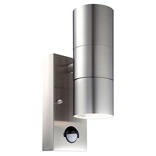 Außen Wand Lampe Park Bewegungsmelder Leuchte Glas Edelstahl Sensor Strahler Globo 3201-2SL