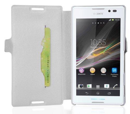 Preisvergleich Produktbild Cadorabo Hülle für Sony Xperia C - Hülle in ICY WEIß Handyhülle mit Standfunktion und Kartenfach im Ultra Slim Design - Case Cover Schutzhülle Etui Tasche Book