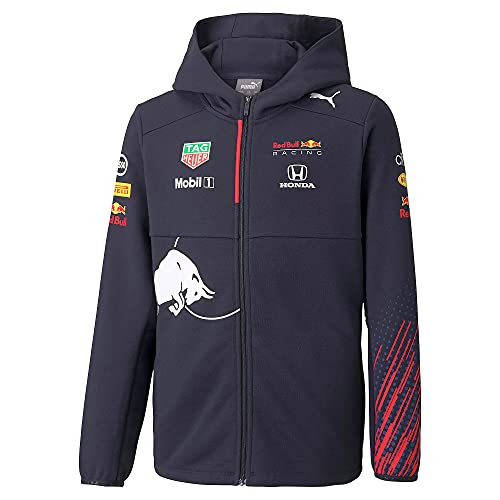 Red Bull Racing Official Teamline Zip Sudadera con Capucha, Niños Tamano 140 - Original Merchandise