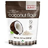 Sukrin Organic Fairtrade Fat-Reduced Coconut Flour, Gluten-Free, Low Carb, High-Fibre, produced from pure, raw coconut, great substitute for flour (400g)