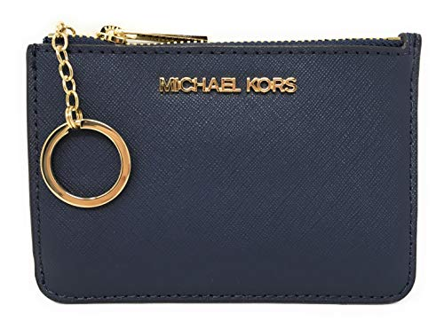 Michael Kors Jet Set Travel Small Top Zip Coin Pouch with ID Holder in Saffiano Leather (Navy with Gold Hardware)