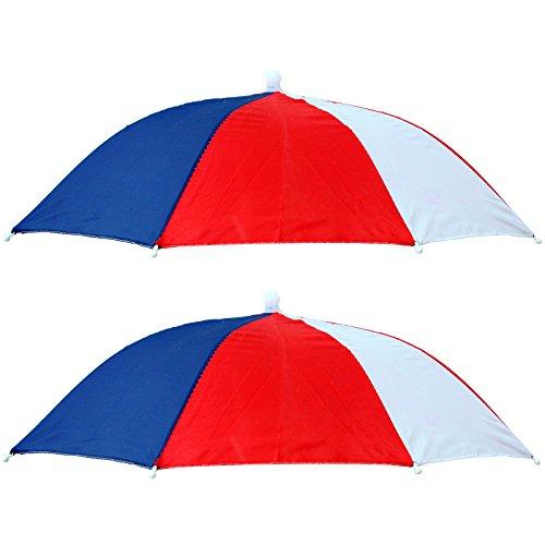 2 x Kopf Regen Schirm Sonnenschirm Rot Weiß Blau Regenschirm Kopfschirm