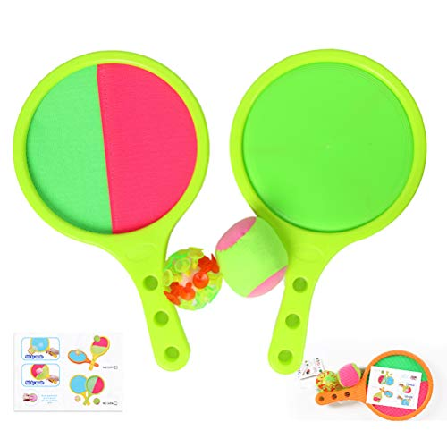 Atrumly Divertido juego de raqueta de lanzamiento y captura de niños portátil de la playa de juguete de verano juego de béisbol tenis regalos de Navidad de cumpleaños interior al aire libre