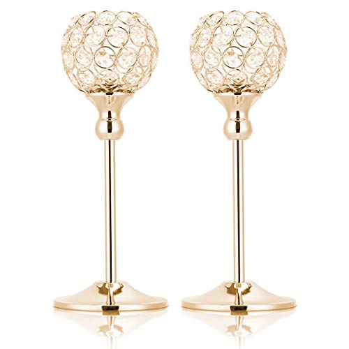 Hossejoy 2 PCS Candle Holders, Crystal Candlestick Holders for Tables Dining Halloween Christmas Anniversary Wedding Decoration, Fit Best with Flameless LED Tea Light Candles (Gold)