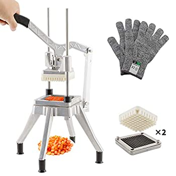 TUNTROL Metal Vegetable Chopper Stainless Steel Blade Quick Manual Dicer Cutter Machine Easy for Onion Tomato Pepper Potato  1/4  +3/8