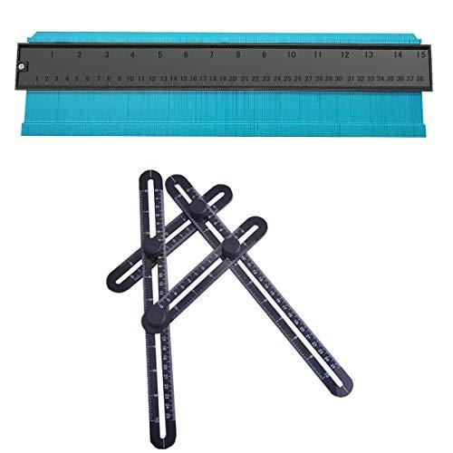 型取りゲージ 38cm 多機能プラスチック 測定ゲージ ABS測定ツールの輪郭ゲージ+ABS 四角自由スコヤ 折りたたみ定規 ブラック