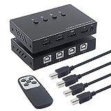 Conmutador KVM USB 2.0 con control remoto, 4 entradas, 4 salidas, compartición de puertos, 4 dispositivos, caja de concentrador USB para teclado, mouse, impresora